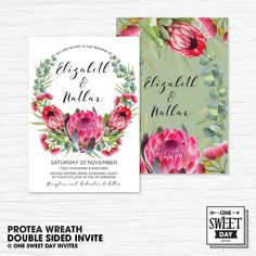 Wedding Invitation Printable, Pink Protea, Australian, Native Flowers, Eucalyptus Leaves, Flowers, Nature, Spring Wedding by OneSweetDayInvites on Etsy Printable Wedding Invitations, Invitation Set, Wedding Stationery, Invites, Protea Art, Protea Flower, Rustic Wedding, Our Wedding, Spring Wedding