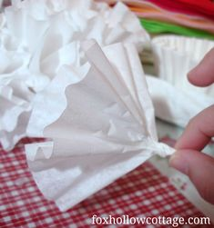 Fox Hollow Cottage: How To Make A Coffee Filter Wreath {with burlap roses}