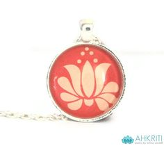 Peach #lotus necklace #yoga jewelry toronto canada by Ahkriti, $15.50