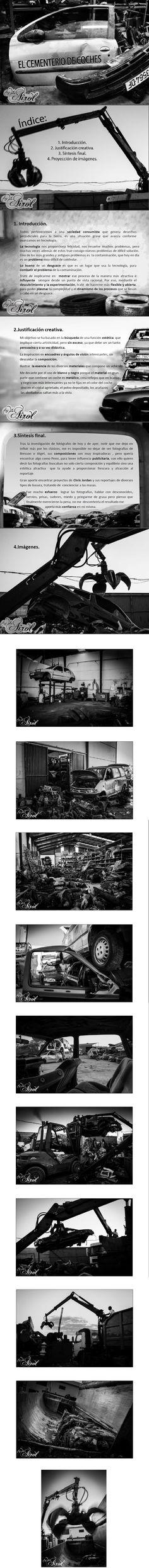 Proyecto documental en el desguace de coches. Desintoxicación de coche, retirado de neumaticos, retirado de asientos, amontonamiento de las carrocerías y prensado final.