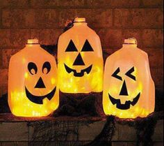 Clean plastic gallon milk jugs Black permanent marker Craft knife String of 50 low-wattage lights (orange for pumkins clear for ghosts :D