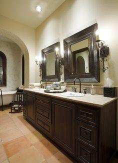 Bathroom - Dark Wood, Light Counter, and Saltillo Floors