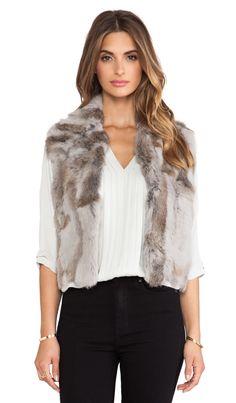 Adrienne Landau Textured Rabbit Fur Vest in Light Grey | REVOLVE