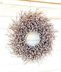 Antique White Twig Wreath by Wild Ridge Design - contemporary - holiday decorations - Etsy