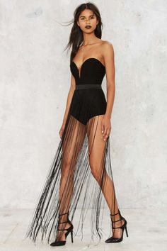 Rare London The Swing of It Fringe Bodysuit - Clothes   Party Shop   Best Sellers   Going Out   Midi + Maxi   Bodysuits