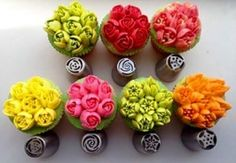 US Seller 7 XXL Pieces Russian European Piping Nozzle Tulip Rose Flower Icing Tips Cake Decorating Set Cake Decorating Supplies, Cake Decorating Techniques, Cookie Decorating, Russian Icing Tips, Cupcakes Decorados, Decoration Patisserie, Cake Piping, Piping Bag, Buttercream Flower Cake