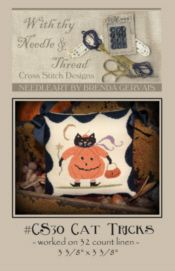 CS30 Cat Tricks-cat tricks cross stitch pattern, cross stitch patterns, with thy needle and thread, brenda gervais, halloween cross stitch, black cat