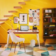 """""""Workforce... A #bloggers #home #office..in the may-june #2015 issue of #ADINDIA #architecturaldigest #kultureshop #prints #hermanmiller #desk #chair #jaipurrugs #freedomtree #shelf #seletti #accessories #wallunit #yellow #wall #staircase"""" Photo taken by @sonavalaitee on Instagram, pinned via the InstaPin iOS App! http://www.instapinapp.com (05/28/2015)"""