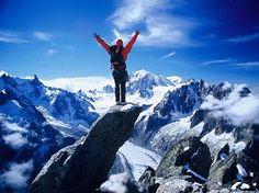 Mountaineer in Chamonix Mont Blanc Massif