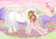 "Unicorn and princess fantasy Painting, girls room decor, princess decor, unicorn art  ""The Princess and the Unicorn"" archival fine art print by Wishsongdesign on Etsy https://www.etsy.com/listing/90580728/unicorn-and-princess-fantasy-painting"