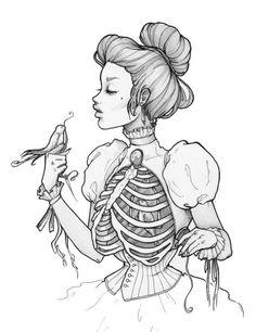 """Ship From Ny - Temporary Tattoo - 4.5"""" X 3"""" Ribcage Skeleton Halloween Tattoo"""