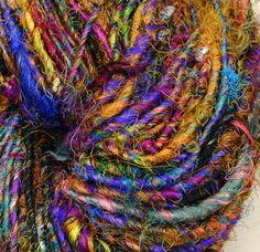 Wild Peacock Recycled Silk Yarn by Darn Good Yarn | The Best Yarn Store!