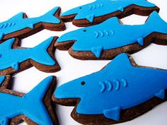 Shark Cookies. Dark chocolate cookies and royal icing.