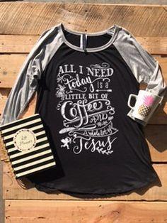Monogram Coffee and Jesus Baseball Tee by HeyYallandCo on Etsy