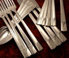 Oneida Nobility CAPRICE ART DECO Vintage 1937 Silver Plate Flatware Silverware Set You Choose Grille Viande Dinner Service for 4 or 8  $128