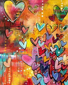 Corazones by Belinda Fireman Art & Craft Studio Tuesday. Kunstjournal Inspiration, Art Journal Inspiration, Painting Inspiration, Journal Ideas, Journal Prompts, Art Journal Pages, Art Journals, Art Journal Backgrounds, Heart Painting