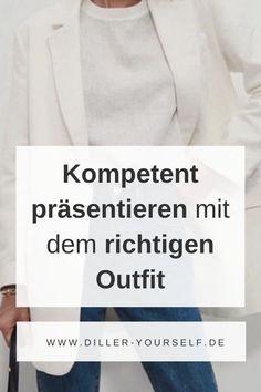 Allzu hohe Schuhe lassen den Gang unsicher werden, staksen ist auch nicht gut. Zuviel Schmuck und klimpernde Armreifen lenken ab. Dagegen wirken zurückgebundene Haare meist professioneller, weil sie den Blick aufs Gesicht frei lassen.    Diller Yourself - Modetipps und Stilberatung mit Stefanie Diller. Kompetent wirken mit der richtigen Körpersprache. Outfits, um kompetent zu präsentieren. #dilleryourself #modetipps #meeting Business Outfit Frau, Business Outfits, Elegante Outfits, Fashion Office, Business Mode, Outfits Casual, Curvy Fashion, Blazer, Fashion Tips