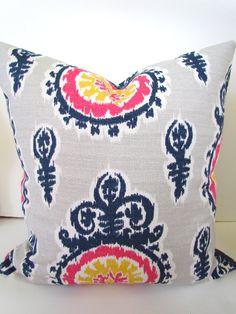 THROW PILLOWS 16x16 Navy Blue Denim Throw Pillow Covers 16 x 16 Pink Yellow Ikat Decorative Throw pillows missoni