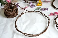 Brown grapevine wire makes a great, easy base for DIY Fairy flower Crowns via flouronmyface.com