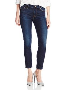 7 For All Mankind Women's Midrise Ankle Skinny Jean In Dark Royale Rinse