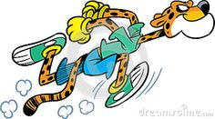 The illustration shows the cheetah, which deals sports running. Illustration done in cartoon style isolated on white background.