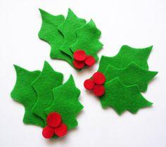 Hojas de fieltro de Navidad, Suministros artesanos, Fieltro troquelado