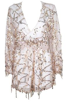 Serafina Semi-Sheer Gold Sequin Detailed Romper - White from Raw Glitter | Shop Hottest New Party Dresses | Women's Clothing, Jewelry