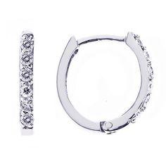 Pave Diamond Huggie Hoop Earrings in 14K White Gold (0.25cttw) ATR Jewelry. $199.00. Save 50%!