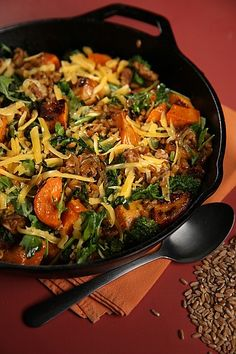 Farro Bowl With Roasted Sweet Potatoes, Broccoli Rabe and Sausage