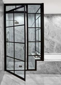 The master bathroom inside a New York penthouse by ODA New York. Photography by Frank Oudeman/Otto. Bathroom Interior Design, Modern Interior Design, Interior Design Inspiration, Interior Decorating, Design Bedroom, Design Ideas, Design Concepts, Marble Interior, Interior Ideas