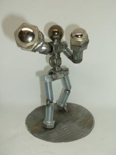 Boxer, Metal Bolt Figurine, Fighter, Athlete, Upcycled Metal Figurine - All Around Art Pictures Recycled Metal Art, Scrap Metal Art, Welding Art Projects, Metal Art Projects, Metal Artwork, Metal Tree Wall Art, Boxer, Metal Figurines, Art Archive