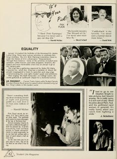 """Athena yearbook, 1988. """"Carson Tanks listens while Student Senate President Randy Routt gives his speech which stressed living out Rev. King's ideals in the modern world."""" :: Ohio University"""
