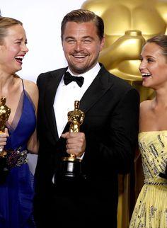 Brie Larson, Leonardo DiCaprio & Alicia Vikander - 2016 Oscars