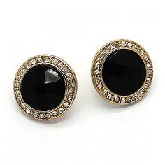 Pair of Retro Gothic Diamante Faux Gem Stud Earrings For Women, GOLDEN in Earrings | DressLily.com