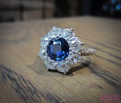 Fabulous antique sapphire and diamond cluster ring from Doyle & Doyle.