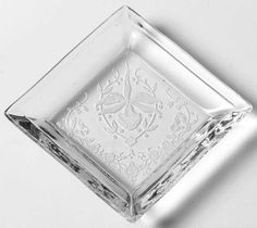 Heisey Etched Orchid Design 3 Square Glass by DianesBargainShack, $22.00