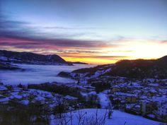 snow, winter, cold temperature, sunset, season, scenics, beauty in nature, tranquil scene, sky, tranquility, weather, mountain, landscape, orange color, cloud - sky, nature, covering, idyllic, mountain range, non-urban scene