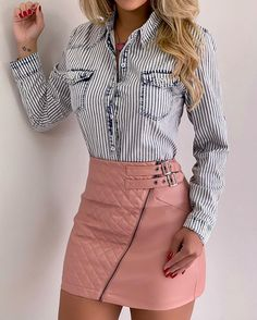 Fancy Skirts, Cute Skirts, Jean Court, Chic Outfits, Fashion Outfits, Pencil Skirt Outfits, Blouse And Skirt, Colourful Outfits, Urban Fashion