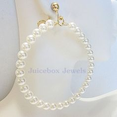 CLIP ON 2.5 inch WHITE Glass Pearl Faux Hoop Handmade Non-Pierced Earrings V81 #Handmade #Hoop
