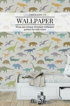 This Dinosaur wallpaper is the perfect way to make any truck loving kids room into their haven. An easy to install peel and stick wallpaper this eco-friendly product does not damage walls and leaves no sticky residue, making it a great option for renters. It not only looks amazing but is durable and cleanable. #wallpaper #kidswallpaper #kidsinteriors #peelandstick #Dinosaur #kidsroom #ecofriendlyinteriors Nursery Wallpaper, Kids Wallpaper, Peel And Stick Wallpaper, Dinosaur Prints, Dinosaur Wallpaper, Dinosaur Bedroom, Toddler Room Decor, Retro Robot, Airplane Art