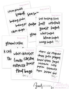 Free printable hand lettered pantry labels.