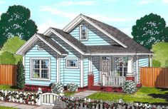 Snug and cozy, this Cottage home plan packs a lot into its 1163 square feet of living space. The main living area is all open from front to back, making the home feel larger. The living room ceiling is raised to 12 cottagestylehouseplans Cottage Style House Plans, Cottage Floor Plans, Beach Cottage Style, Cottage Style Homes, Cottage Design, Small House Plans, House Design, Beach House, Farm House