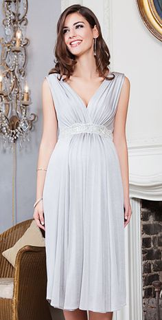 Anastasia Maternity Dress Short (Silver Screen) - Maternity Wedding Dresses, Evening Wear and Party Clothes by Tiffany Rose.