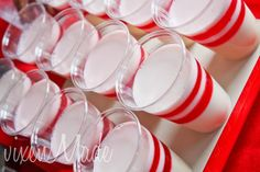 Bowling party, use white cups & red tape stripes, also black plates with white dots(bowling balls)