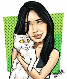 Caricatura, mascote, morena, gato, desenho, Ilustração. Cartoon.