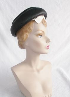 Clearance 1960's Vintage Black and White Straw by MyVintageHatShop