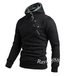 Mens New Long Sleeve Casual Pullover Hoodie Hooded Sweatshirt Jumper Coat | eBay