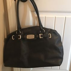 Michael Kors Large Hand Bag Large, black leather shoulder bag. Excellent condition!! Smoke free home, pet friendly. No blemishes on the interior or exterior. Michael Kors Bags Shoulder Bags