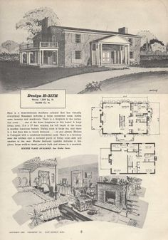Retro House Plans | Vintage House Plans, 1950s Houses, Mid Century Houses