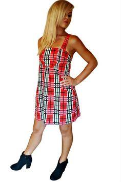 100% Cotton Classic Peasant Dress! Red Plaid.